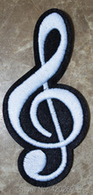 HOT SALE! Musical notes G clef eighth music scale classical Iron On Patches, sew on patch,Appliques, Made of Cloth,100% Quality