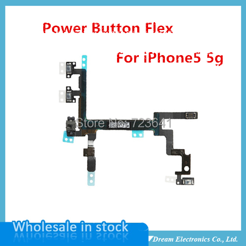 MXHOBIC 10pcs/lot High Quality On / Off Power Switch Flex Cable For iPhone 5 5G Power Button Flex Cables Mobile Phone Part(China (Mainland))