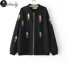 European Brand Women's Jackets And Coat Cute Cartoon Cat Embroidery Woman Bomb Jacket Casual Ladies Base Ball Jacket YC12949