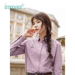 Инман осень новое поступление хлопок Ретро романтическая вышивка длинный рукав женская блузка