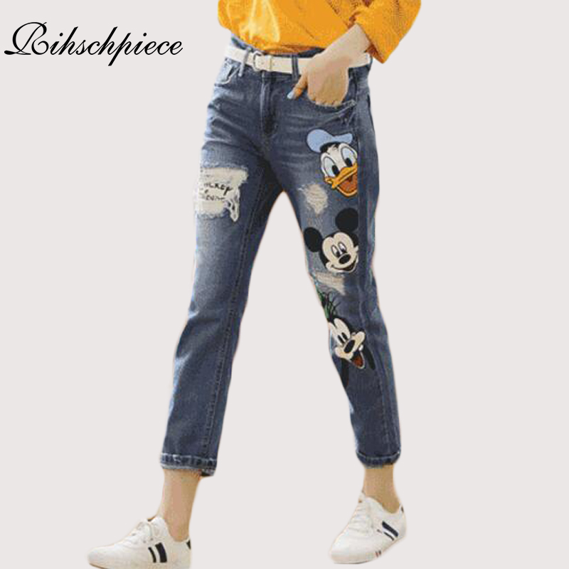 Rihschpiece Boyfriend Women Jeans Ripped High Waist Denim Pants Mickey Mouse Stretch Patch Trousers Embroidered Jeans RZF969 Одежда и ак�е��уары<br><br><br>Aliexpress
