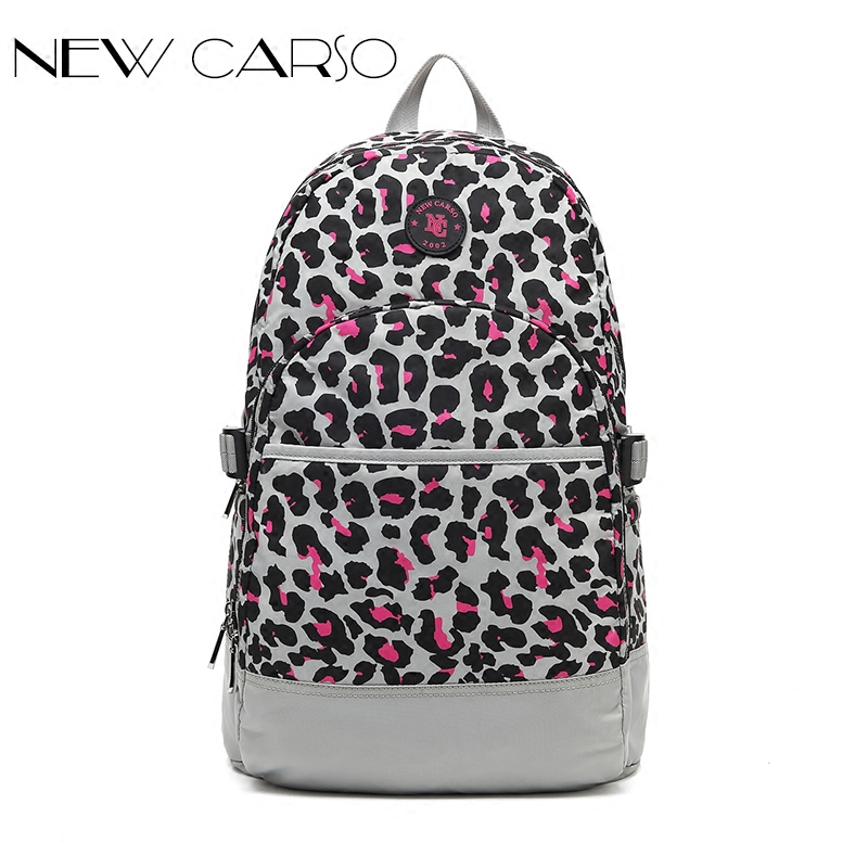 Fresh Nylon  Waterproof Women Fashion Leisure Comfortable Backpack Girl Student School Bag  Laptop Leopard Print Casual Bags <br>