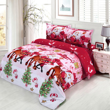 4pcs Cotton 3D Printed Cartoon Merry Christmas Gift Santa Claus Bedding Set Deep Pocket Bedclothes Bed Sheet Pillowcases linens(China)