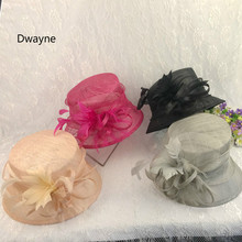New Flower Sinamay Hat For Women Summer Ladies Sun Hat Nude Hot Pink Feather Sinamay Breathable Summer Cap Travel Cocktail Party