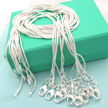 Hot 10pcs wholesale Silver Plated 1mm Snake Chain Necklace 16-24inch 7EYN BD2J(China)