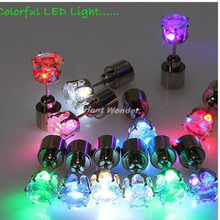 100 pcs(50 pairs) New Fashion Cool Shiny Glowing LED Earrings Colourful ear Stud  Light up drop Light Party Club decoration