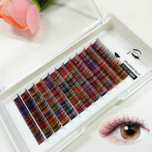 12rows/tray Rainbow Eyelashes Extension Faux Mink C Curl eyelash extension 11 13mm Colored Natural Eyelash For Halloween Cosplay