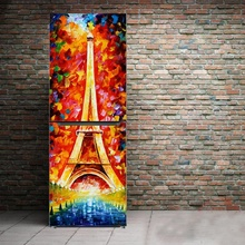 Free shipping DIY Eiffel oilpainting style Waterproof SelfAdhesive Refrigerator Sticker Door Cover Wallpaper 60x150cm 60x180cm