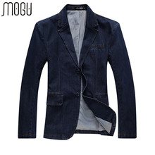 MOGU New Fashion Denim Casual Jacket Men Cotton Suit Jacket Men Blue Coat Men Outerwear Denim Jacket Plus Size 4XL Jean Jacket