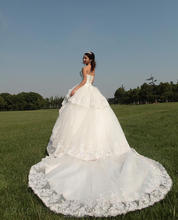 MZY1013 vestido de noiva ivory white floo rlength long tail sleeveless beadings tulle organza tiered lace wedding dress