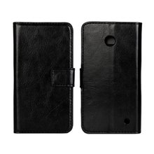 Luxury Pure Color Faux Leather Case For Nokia Lumia 630 Flip Wallet Cover Shell For Nokia Lumia 630 mobile phone case(China)