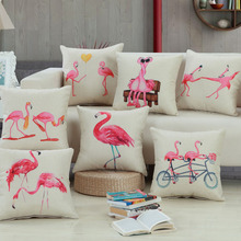 45*45cm Bedding Outlet Cotton Linen Cushion Cover Flamingo Design Pillow Case Sofa Bed Car Decor For Lover Best Gifts(China)