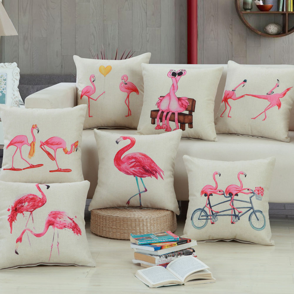 Image 45*45cm Bedding Outlet Cotton Linen Cushion Cover Flamingo Design Pillow Case Sofa Bed Car Decor For Lover Best Gifts