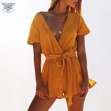 New 2018 Beach Tunic Sexy Cover Up Women Beach Jumpsuit Swimsuit Cover-ups Beach One Piece Playsuits Summer Beach Wear Swimwear(China)