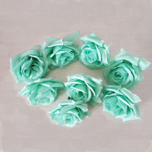 100PCS Tiffany blue 8CM High quality diy artificial fake Silk Rose flowers head For Wedding Party Flower Ball Ornaments Flowers