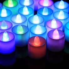 24PCS LED Light Candles 7 Colors Flameless Smokeless LED Tea Light Battery Home Deco Wedding Party Holiday Decoartion