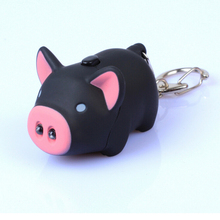 High Quality Kawaii pig led keychains flashlight sound rings Creative kids toys pig cartoon sound light keychains child gift