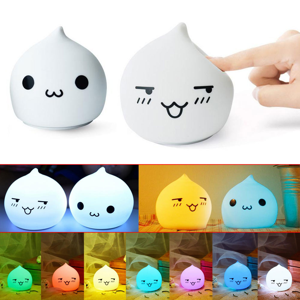 Mini Cartoon 7 Color Changing Cute Water drop Silicone LED Night light Table Lamp Home Bedroom Decoration Kids Best Gift
