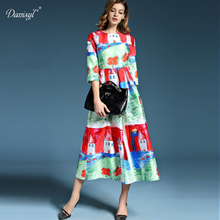 2017 New Arrvial Spring Summer Women Maxi Dresses Cartoon Character House Print Elegant Designer Dress for Lady free shipping