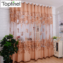New tulle in Translucidus window curtain Jacquard embroidered volie sheer curtains for living room the bedroom panel(China)