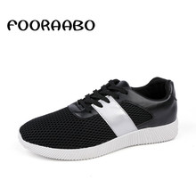 Fooraabo Brand 2017 Men Casual Breathable Shoes Mesh Lace Up Comfortable Walking Shoes Men Spring High Quality Flats Trainers