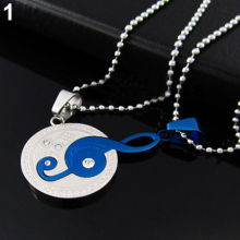 New Lovers Charms Jewelry Stainless Steel Couple Matching Music Note Pendant Necklace Set For Women Men 6SHI 7GL5 87SM(China)