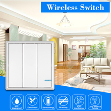 Smart Wireless Switch Transmitter Switch Receiver Controller No Wiring Remote Control Waterproof For House Lighting AC 180~275V