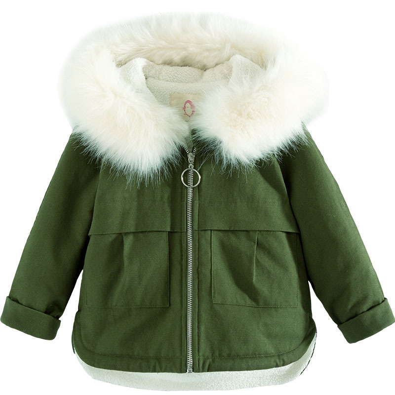 New 2017 Baby Thicken Coat Girls Winter Coat Army Green Fur Collar Kids Coat Warm Toddler Jackets Cashmere lining,3-8Y,#2372<br>