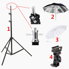 "4in1 Photography Lighting Kit Tripod Light Stand + B Mount Flash Bracket + 33"" Black Reflective Umbrella and White Soft Umbrella"