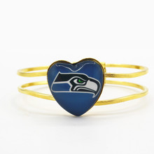 High quality Seattle Seahawks football sports team floating charms heart alloy bracelet 6pcs/lot fashion bracelets jewelry(China)