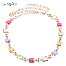 brands Crystal wedding mosaic dress strap chain belts for women 2017 Belly dance metal waist chain ceintures homme sterglaw F001