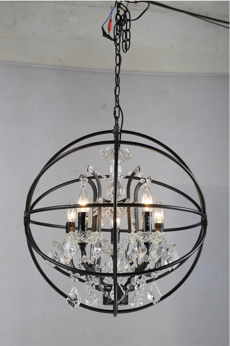 Retro pendant crystal iron ball shape Lamp E14 Nordic industry Vintage Loft american country Art _1Ceiling Lamp-5