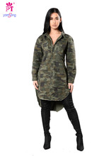 Yomsong Fashion Autumn Women Camouflage Shirt Dress 3067(China)