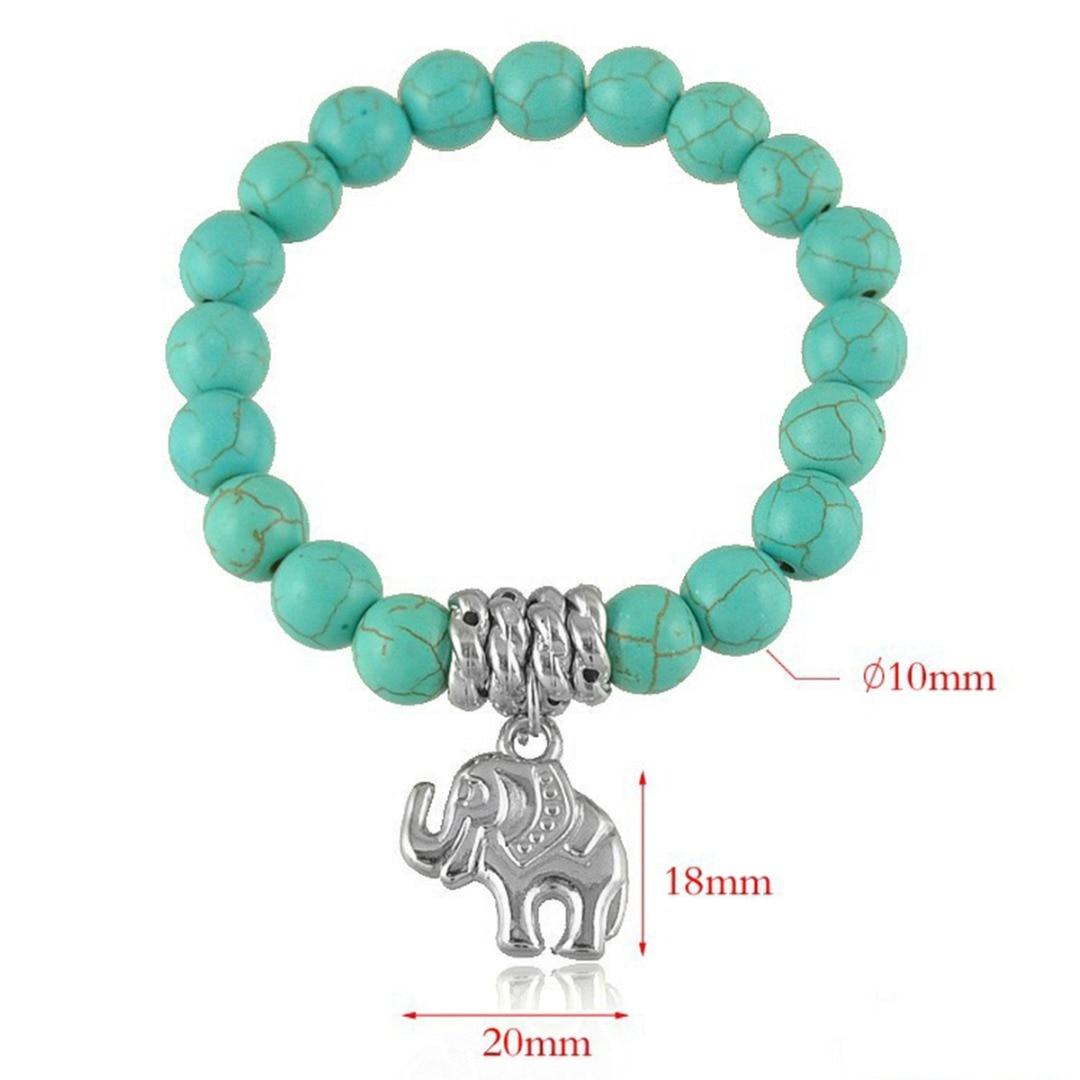 Vintage Boho Charm Bracelets Bangles Women Natural Stone Tree of Life Elephant Love Heart Pendant Bead Bracelet Bohemia Jewelry