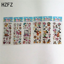 6pcs 3d cartoon hello Kitty Mickey Zootopia bubble sticker masha and bear Spiderman Dora SpongeBob puffy stickers reward kids(China)