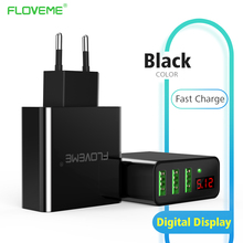 FLOVEME USB Charger Fast Quick Charging 3 Ports LED Display EU/US Plug Max 5V 2.4A Mobile Phone Smart Charger For iPhone Laptop(China)