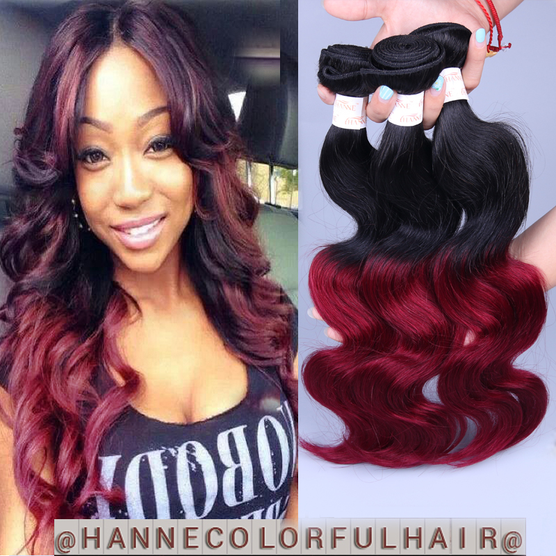 Ombre Hair Brazilian Body Wave 4bundles dark root colored ombre 1b#99j red remy human hair weave body wave hair extensions<br><br>Aliexpress