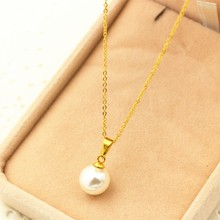 Women lady Charms three colors Stainless steel Choker Necklace, Seeds buckle single White Simulated-pear Pendants & Necklaces(China)
