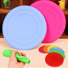 Dog Puppy Pet Silicone Coloured Flying Frisbee Soft Play Outdoor Disc Chew Toy