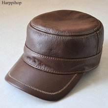 Genuine leather baseball golf sport cap hat men's brand new leather army military hats caps with ear flap brown black