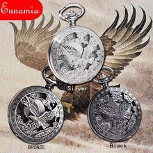 US Emblem Seal Eagle Great Engraved Mechanical Hand Winding Antique Pocket Watch Cool Analog Necklace Chain Men Women Gift Watch