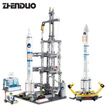 KAZI 83001 2IN1 Aviation Space Series Rocket Station Building Block Childrens toy for Kids Hobby Free Shipping