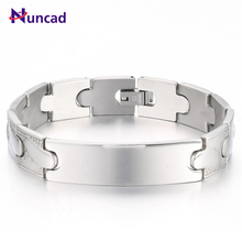 Brand New 2 Patterns Silvery Punk Stainless Steel Geometric Bracelets Screw Bangles Energy Men Jewelry Bangle pulseras mujer(China)