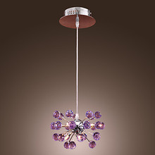 K9 Crystal LED Pendant Lamp with 6 Lights Fixtures in Purple Handing Light Lustres e Pendentes Lamparas Colgantes