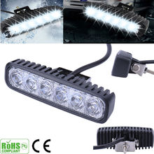2PC 6LEDs 12V 18W LED Car Daytime Running FloodLight Fog Light Waterproof White Working light(China)