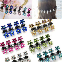 Susan' 12 PC Crystal Flower Mini Claw Clamp Hair Clip Hair Pin NEW Barrette Hair Accessories Braider Tools for Baby Girl Lady(China)