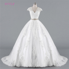 Buy Plus Size Vestido De Noiva 2018 Wedding Dresses Ball Gown V-neck Cap Sleeves Lace Crystal Cheap Boho Wedding Gown Bridal Dresses for $139.00 in AliExpress store