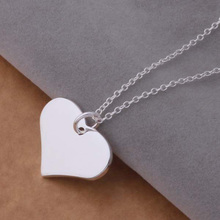 Fashion Silver Plated Heart Tag Pendant Necklace High Quality Simple Trendy Pendant Nacklace(China)