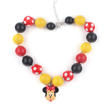 New Child Resin Cartoon Mickey Charm Design Girls Gift Items Yellow Color Chunky Ball Beads Bubblegum Necklace Kids JewelryWXN67