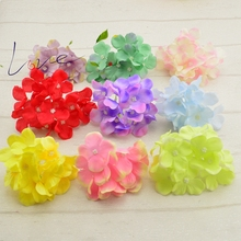 cheap Hydrangea Silk Artificial Flowers Head For Wedding Car Decoration DIY Garland Decorative Floristry Fake Flowers